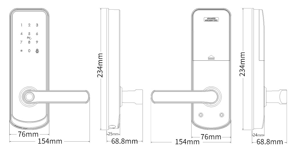 A230 wifi fingerprint door lock dimension